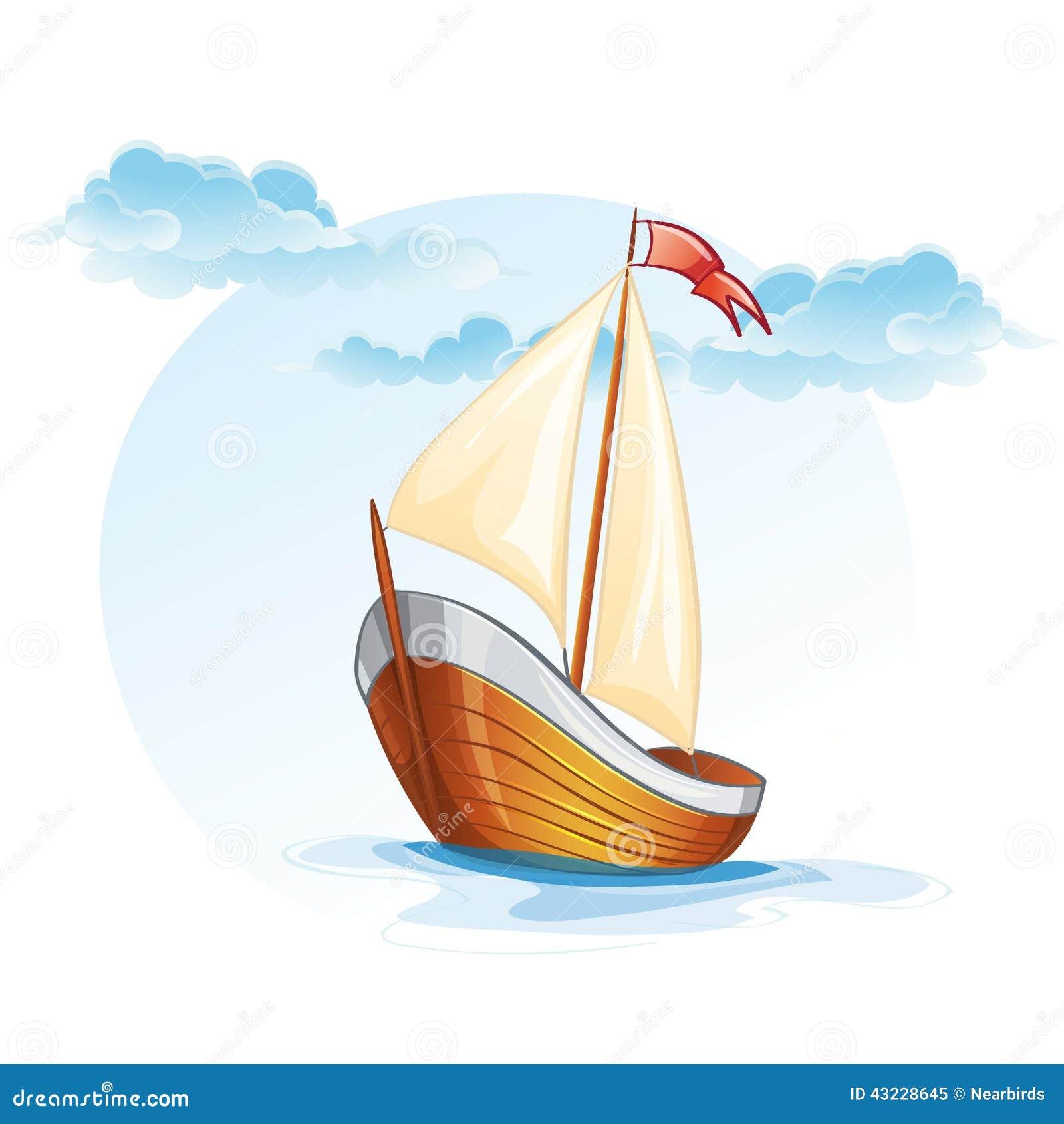 Beeldverhaalbeeld van een houten varende boot