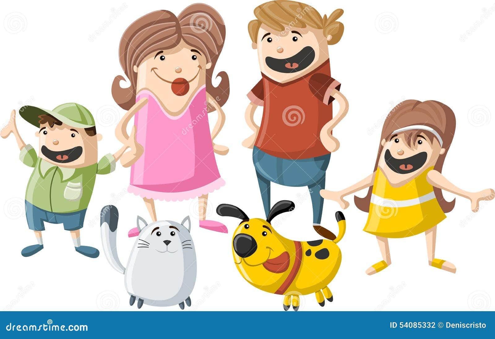 Beeldverhaalfamilie met huisdieren