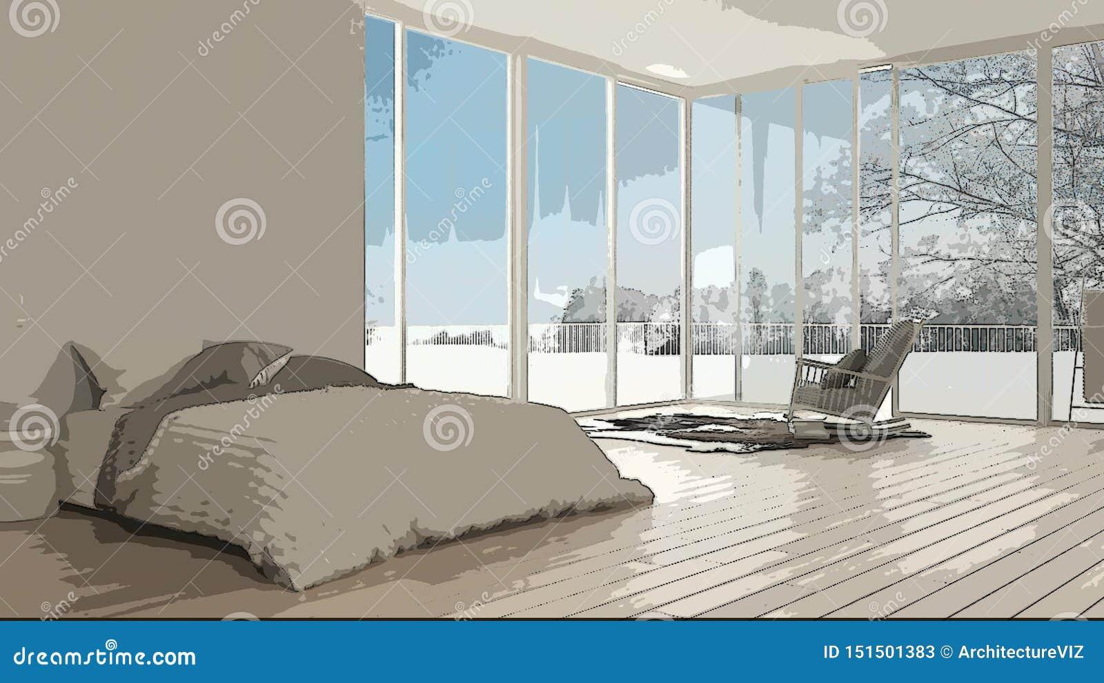 Beeldverhaalillustratie van comfortabele moderne slaapkamer, binnenlands ontwerp Kleurrijke achtergrond, flatconcept met digitaal