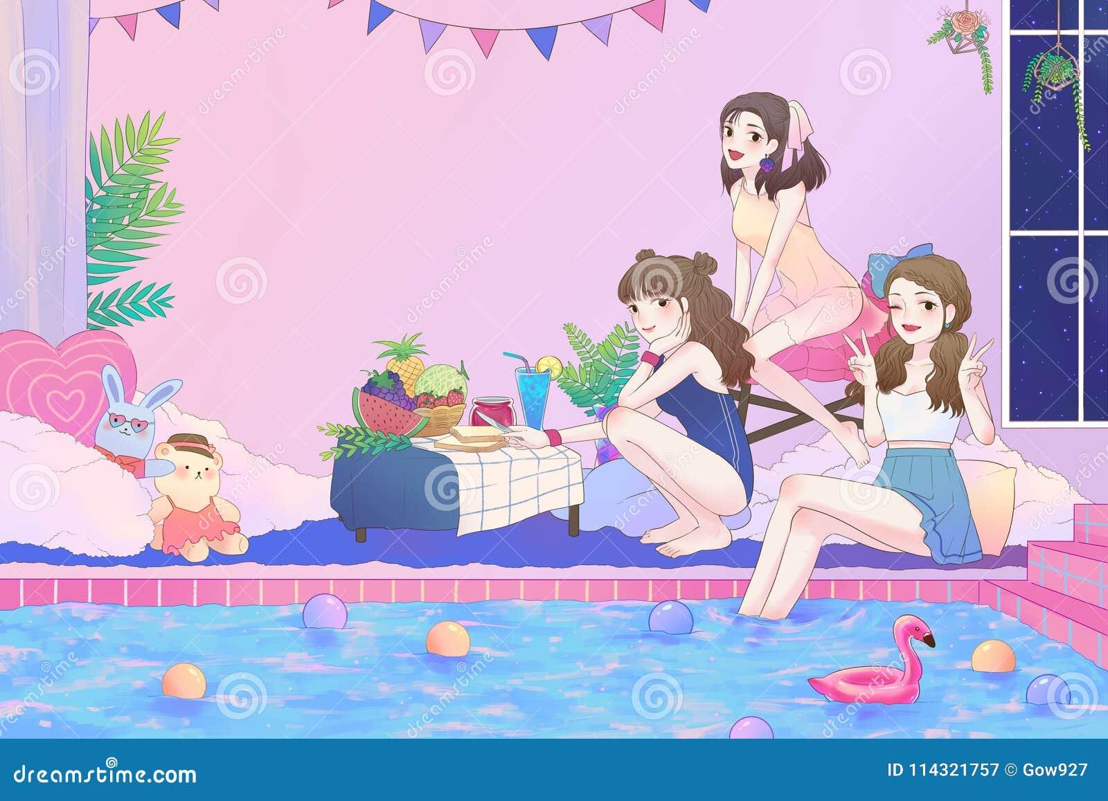 Beeldverhaalillustratie van 3 leuke Aziatische tienermeisjes pret hebben en poolpartij die in de grote badkamers met zwempak op u