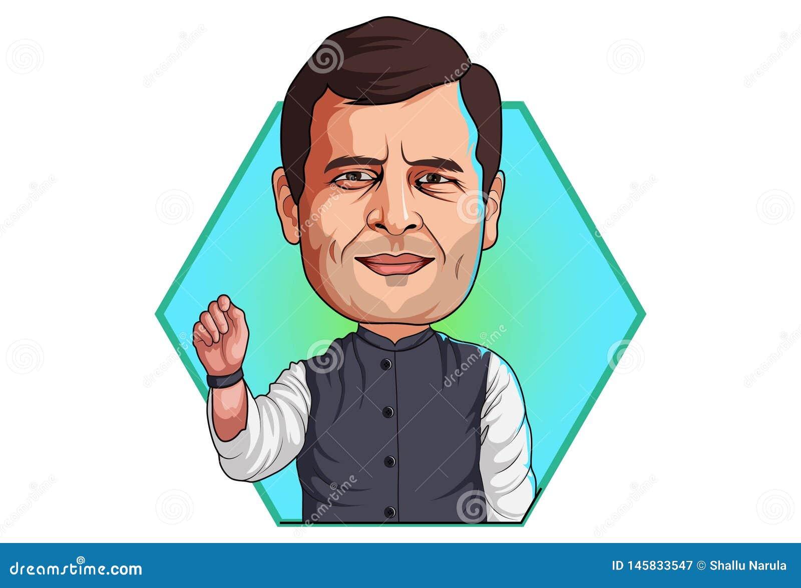 Beeldverhaalillustratie van Rahul Gandhi