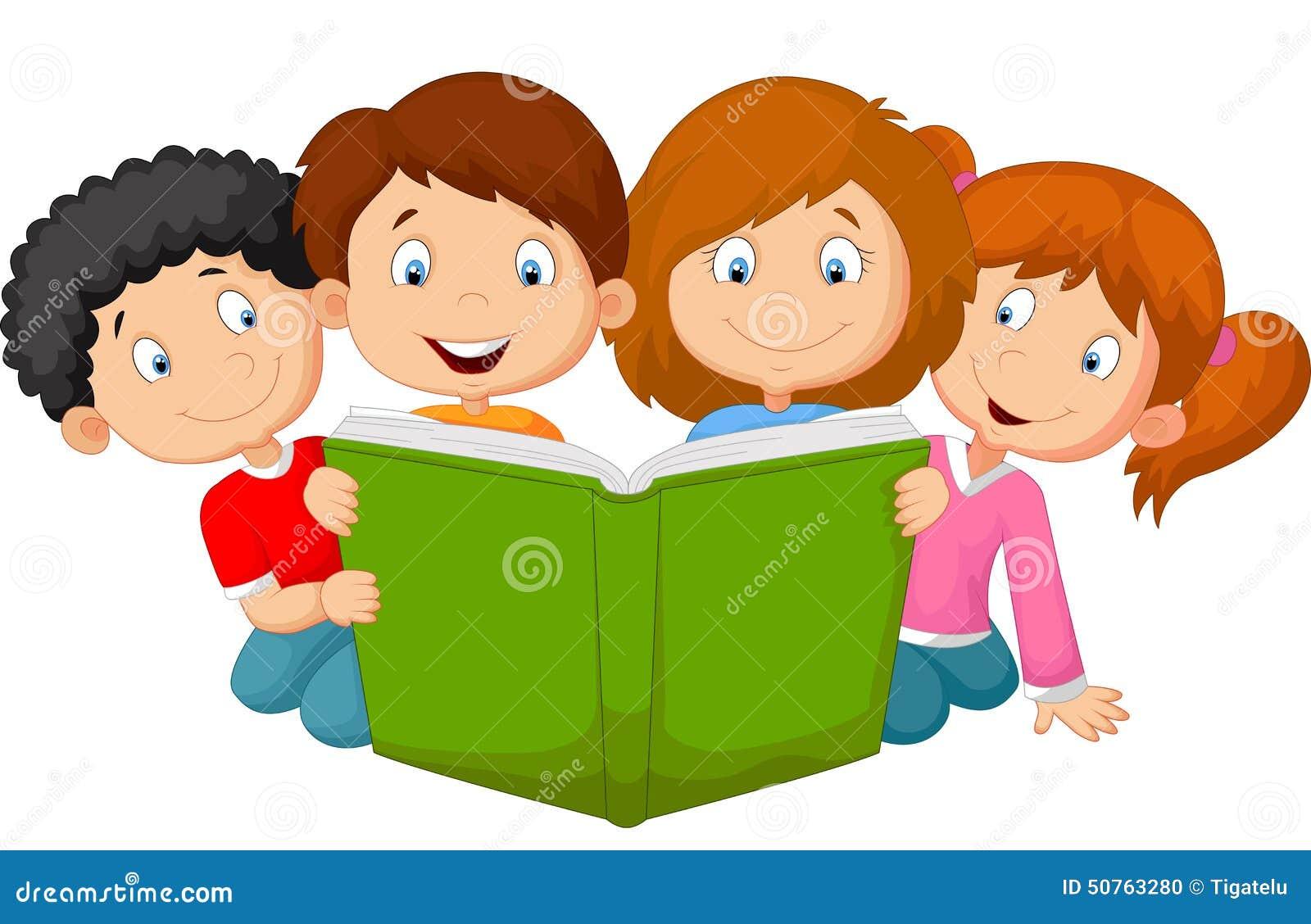 Beeldverhaaljonge geitjes die boek lezen