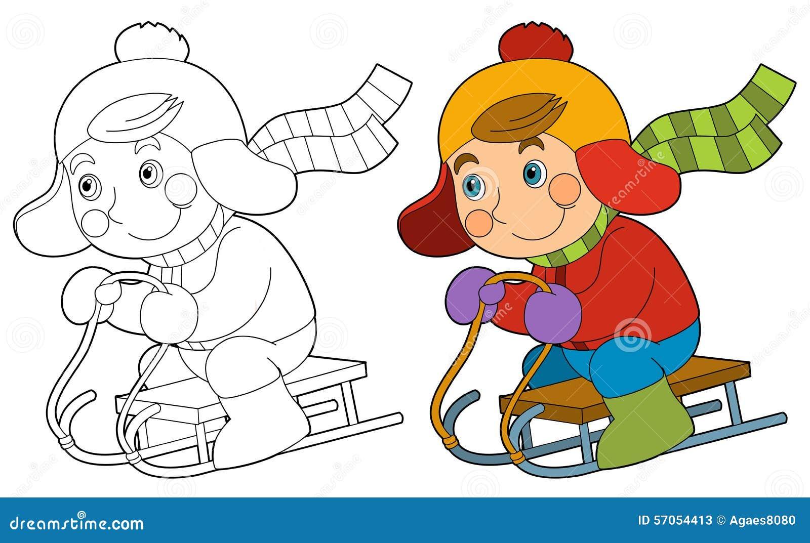 Beeldverhaalkind - activiteit die - - kleurende pagina glijden