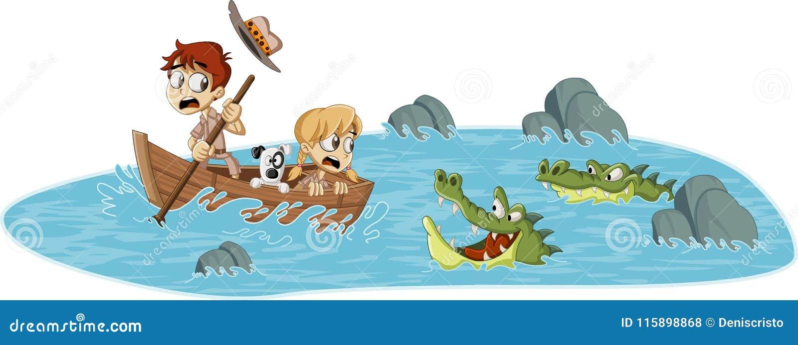Beeldverhaalkinderen op een boot die van alligators lopen