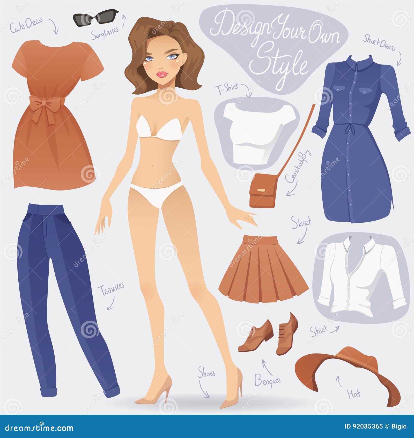 Beeldverhaalkleding op het karakter van het maniermeisje