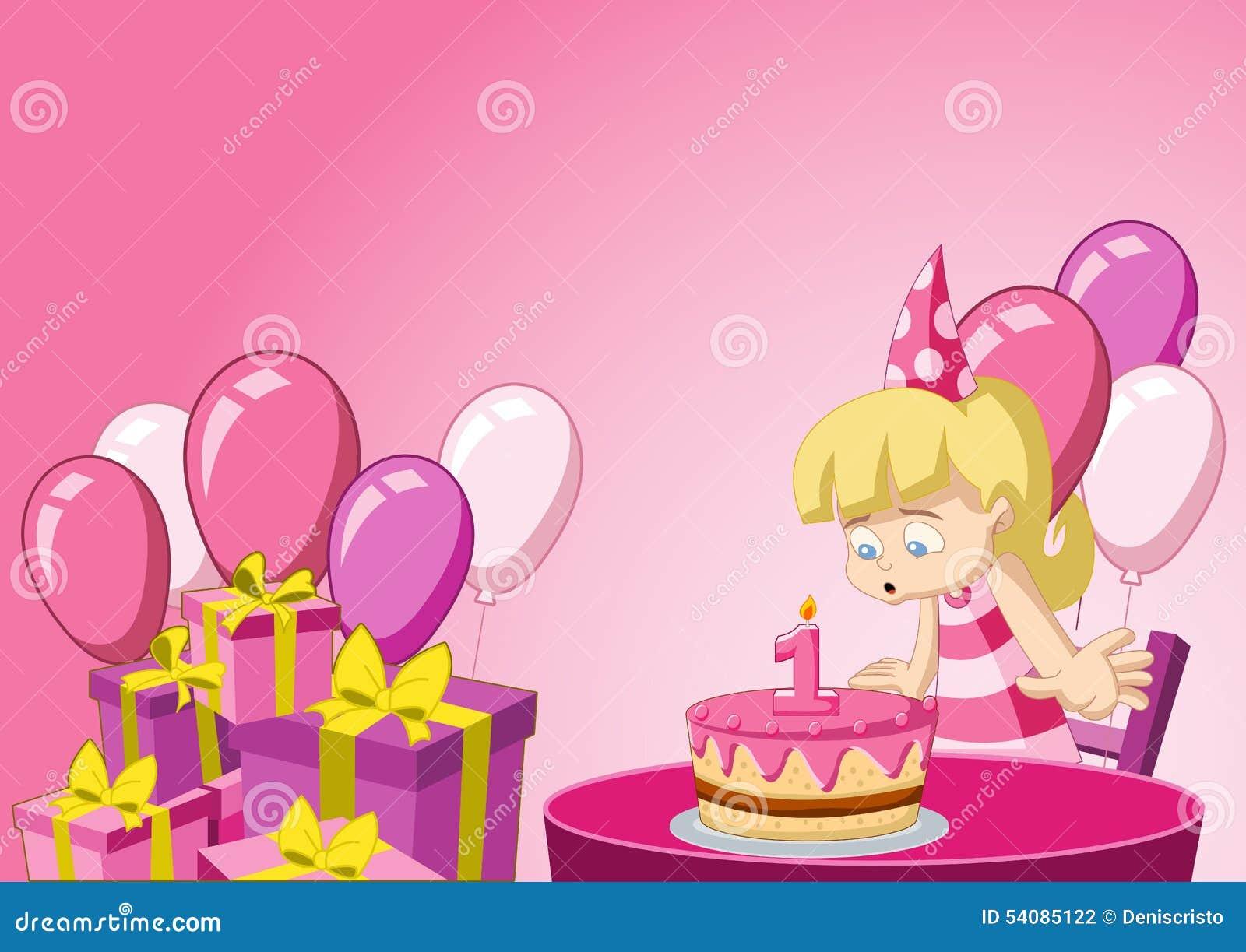 Beeldverhaalmeisje die pret hebben bij verjaardagspartij