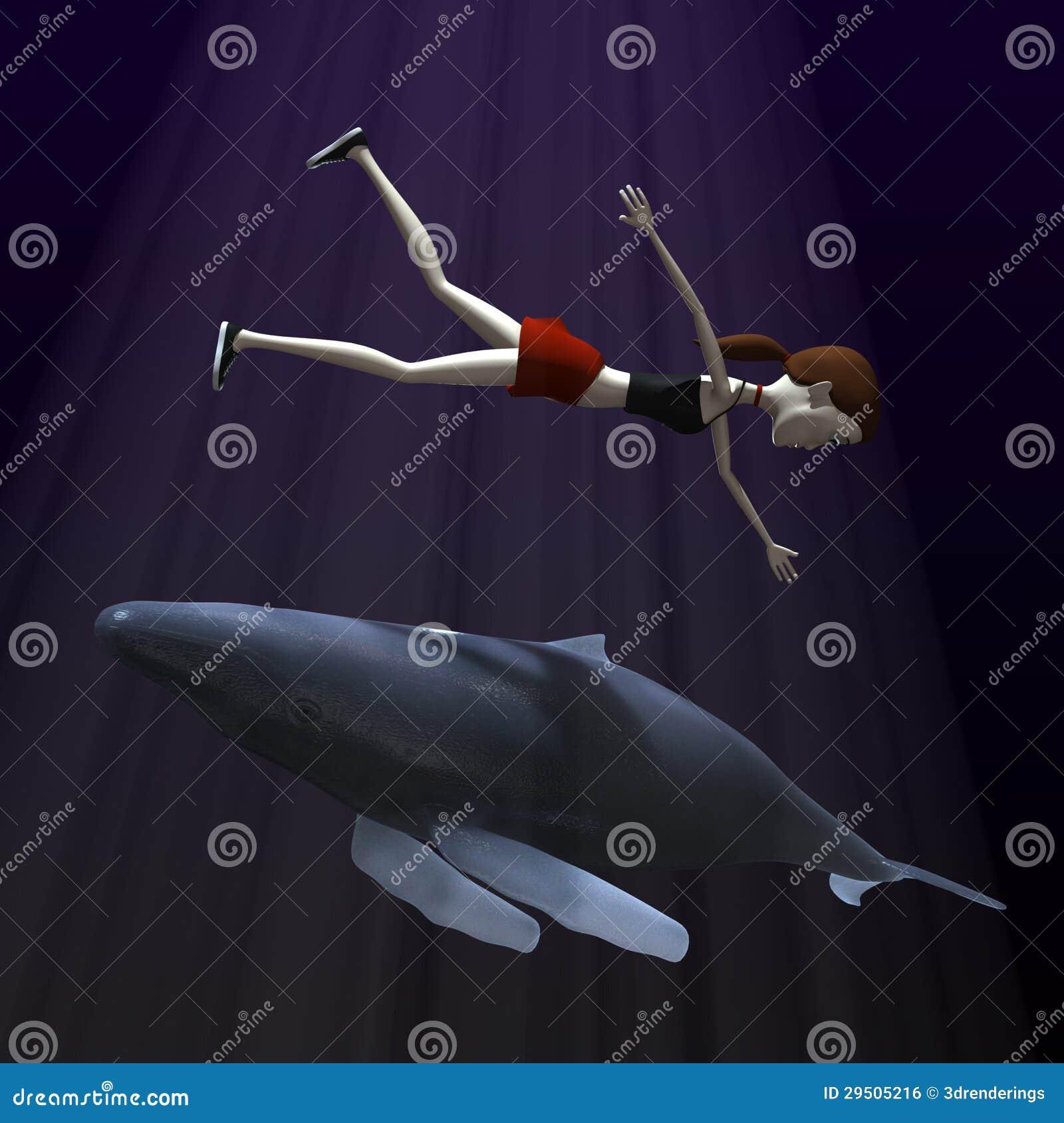 Beeldverhaalmeisje met walvis