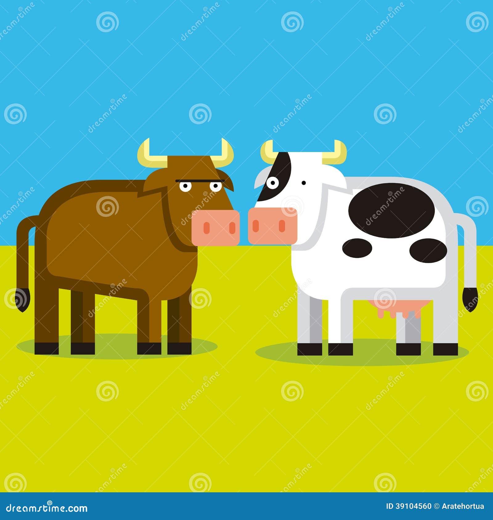 Beeldverhaalpaar van een Stier en een Koe