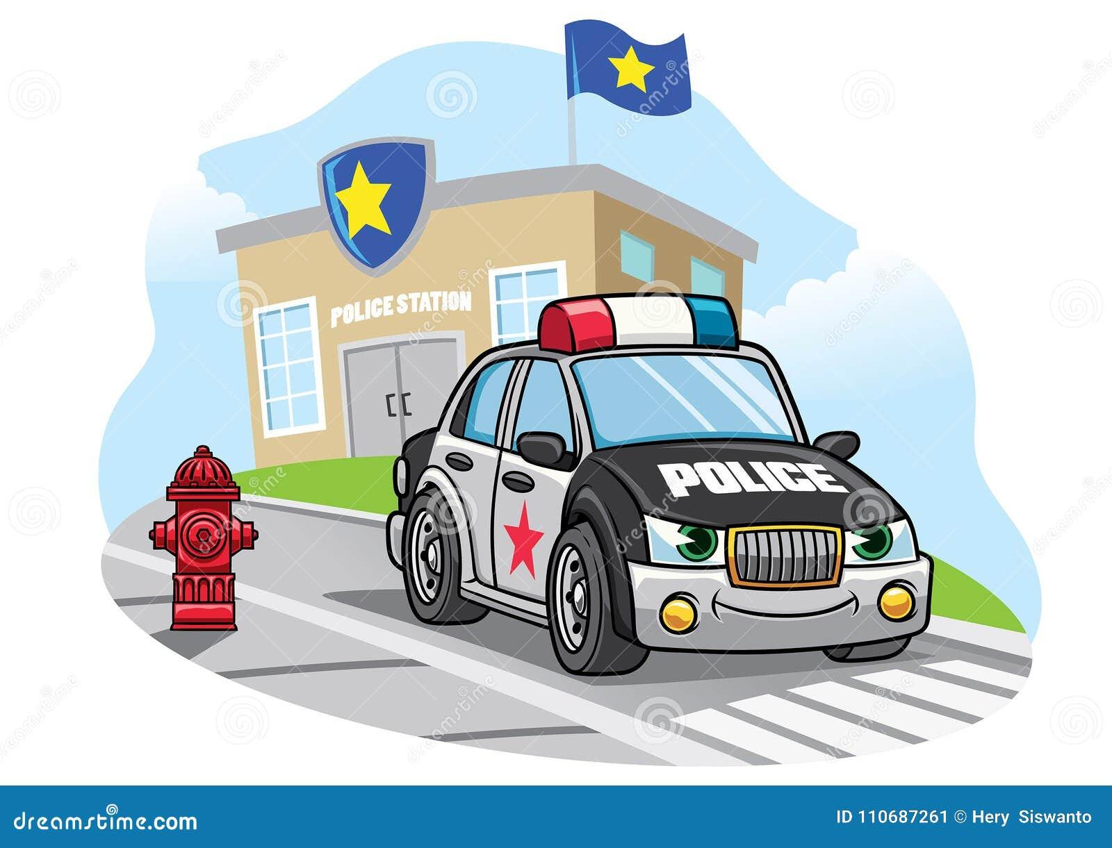 Beeldverhaalpolitiewagen voor politiebureau