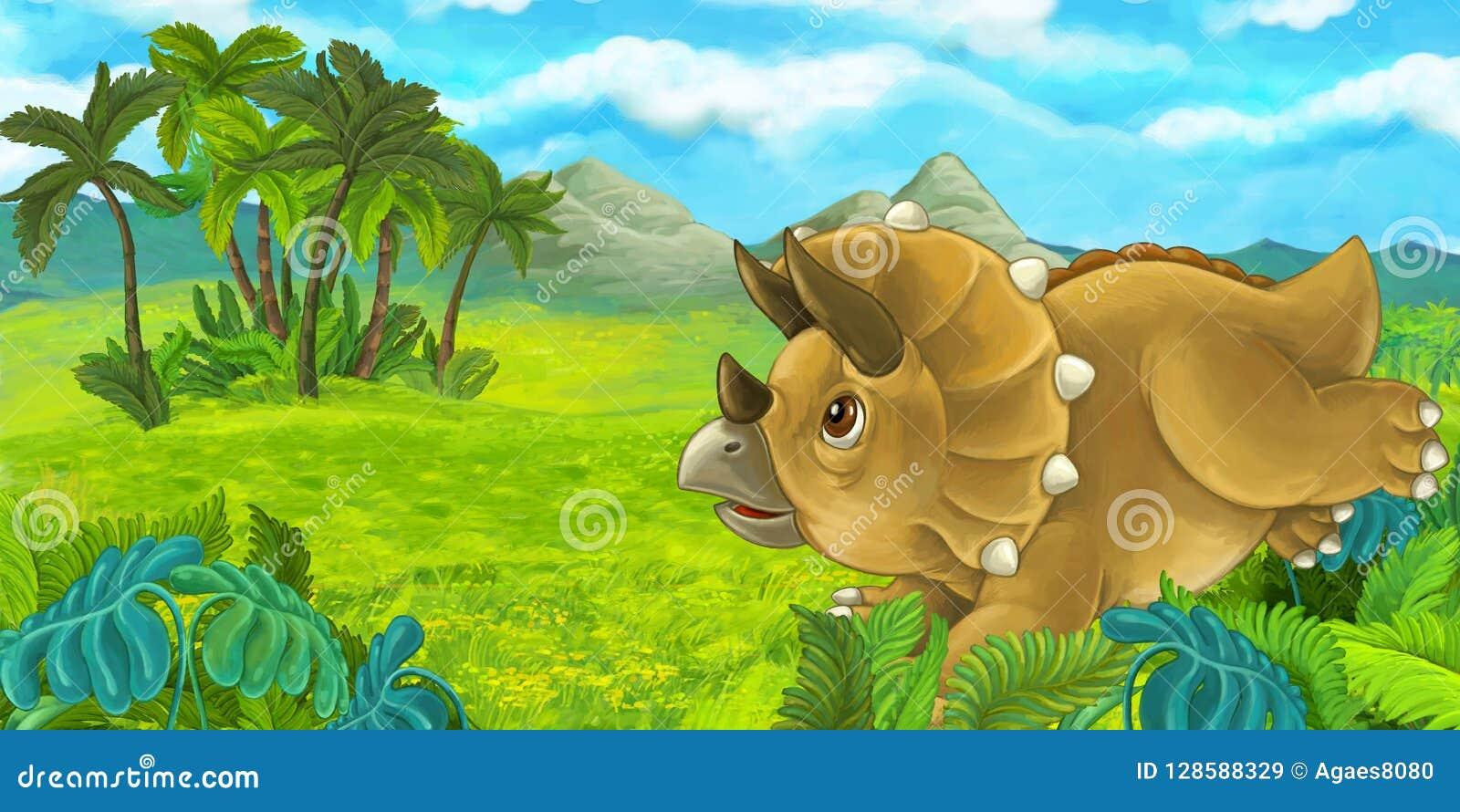 Beeldverhaalscène met gelukkige en triceratops die bevinden zich eruit zien