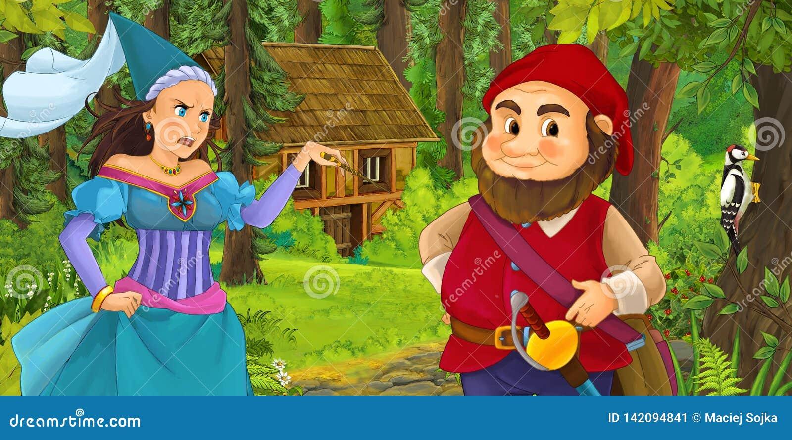 Beeldverhaalscène met jonge dwergprins die en prinsestovenares en verborgen blokhuis in het bos reizen ontmoeten