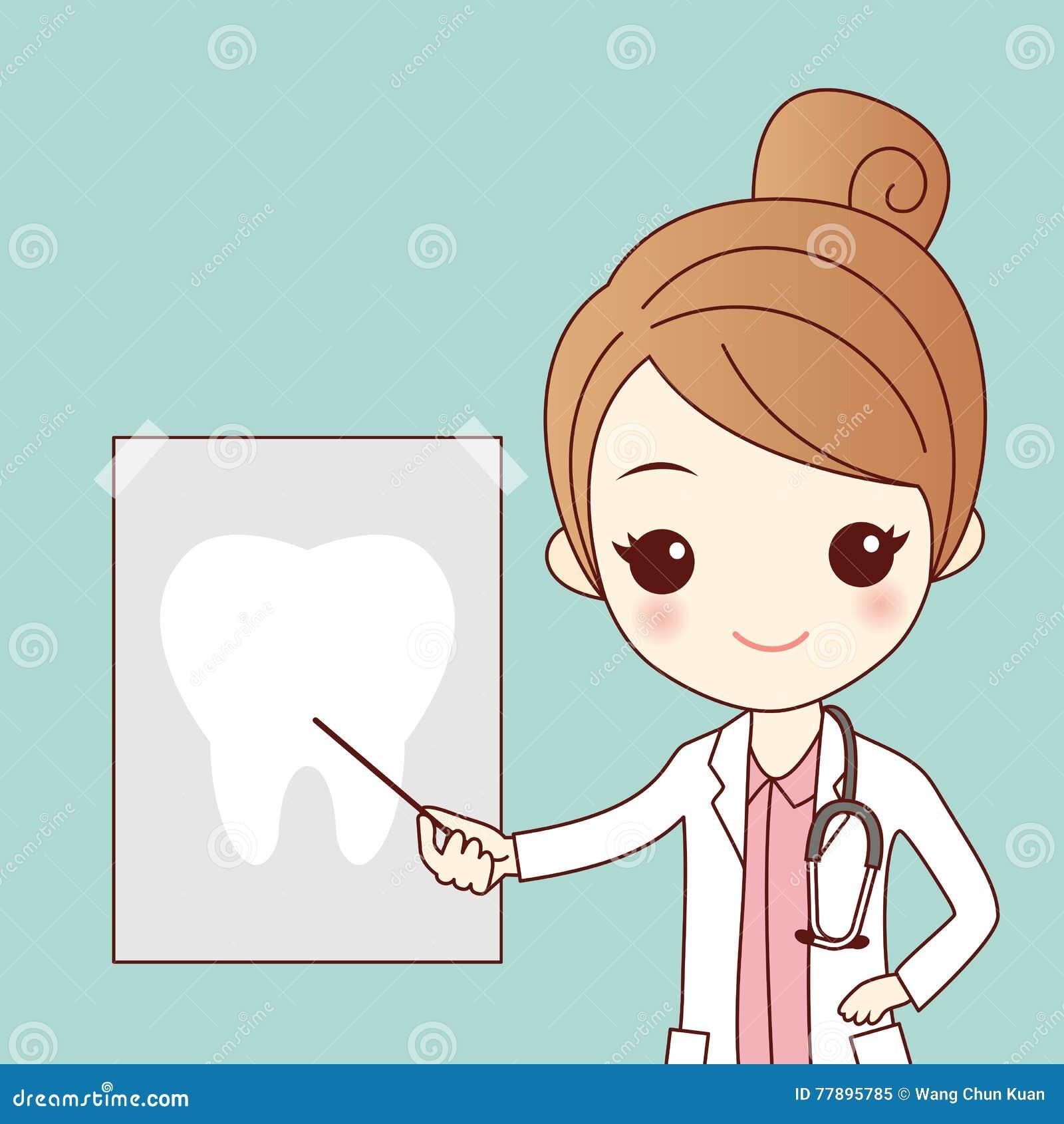 Beeldverhaaltandarts met tandstraal