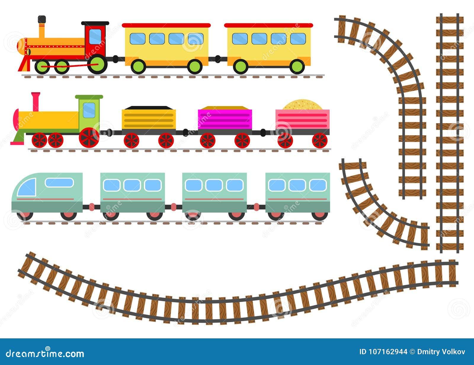Beeldverhaaltrein met wagens en spoorweg De stuk speelgoed trein gaat per spoor