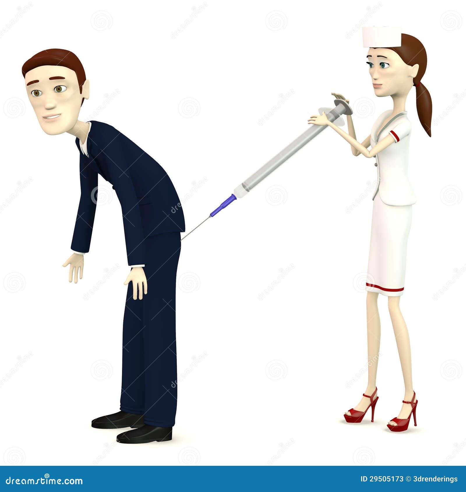 Beeldverhaalverpleegster met naald (voor zakenman)