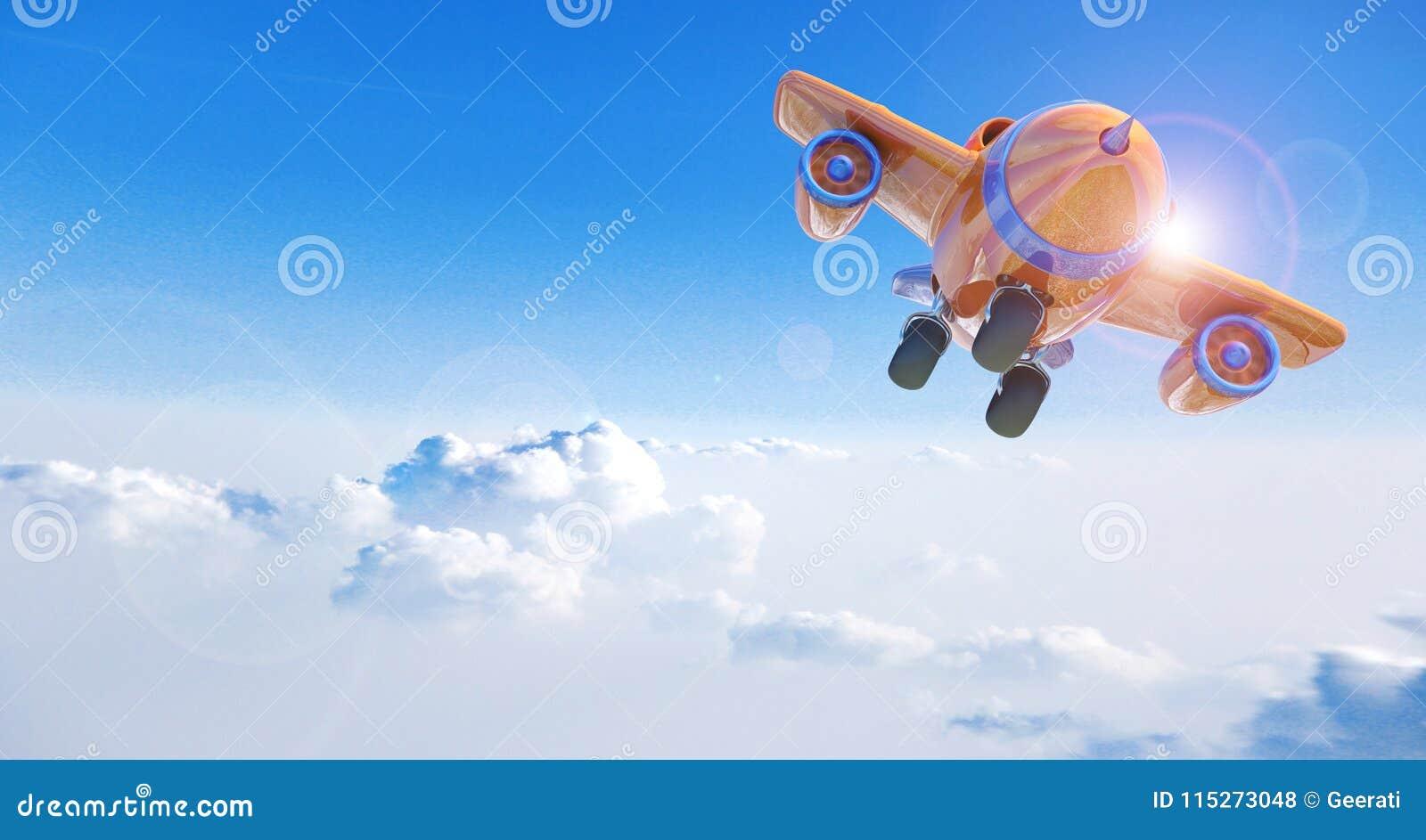 Beeldverhaalvliegtuig die boven wolken vliegen