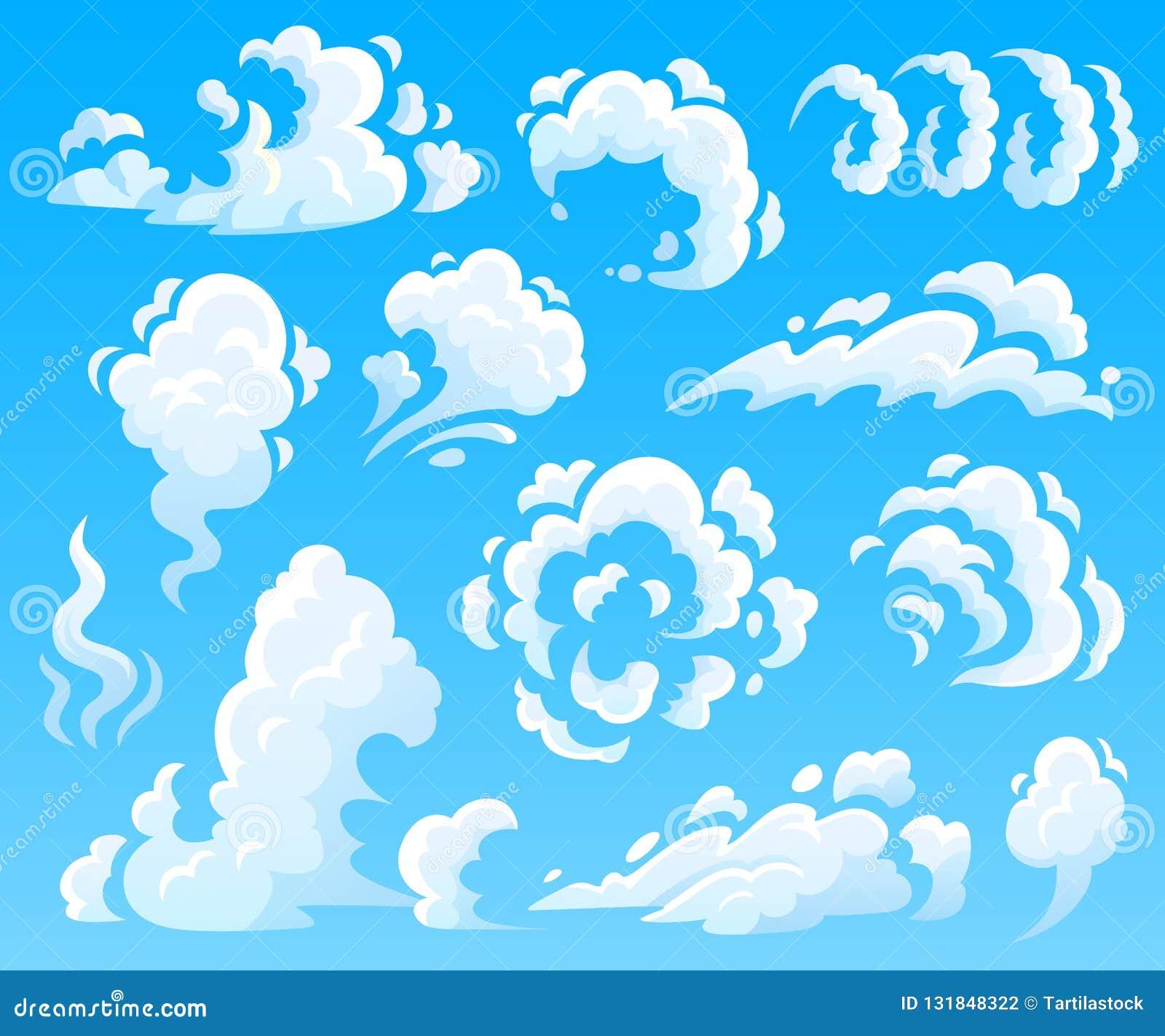 Beeldverhaalwolken en rook Stofwolk, snelle actiepictogrammen Inzameling van de hemel de vector geïsoleerde illustratie