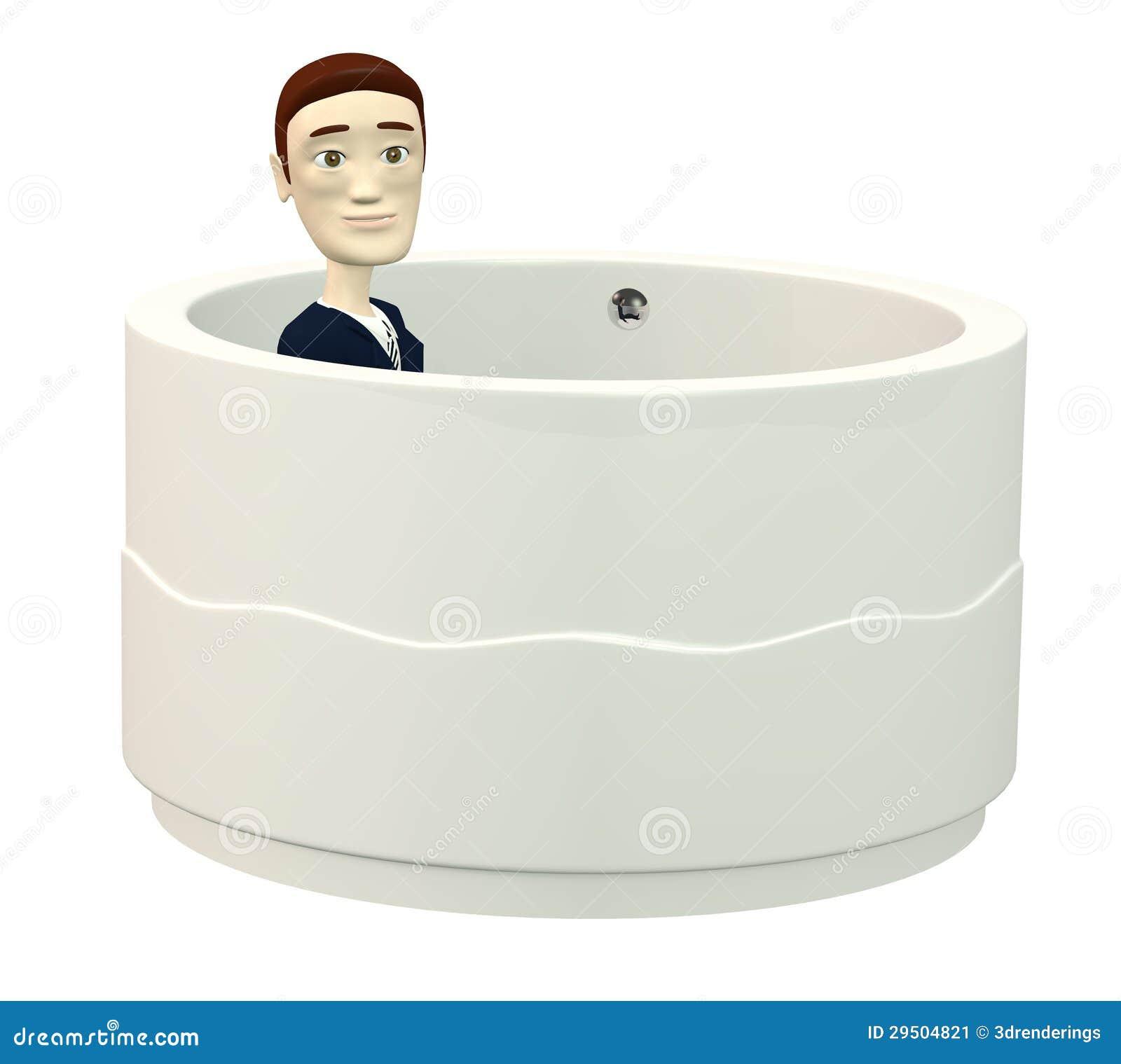Beeldverhaalzakenman in badkuip