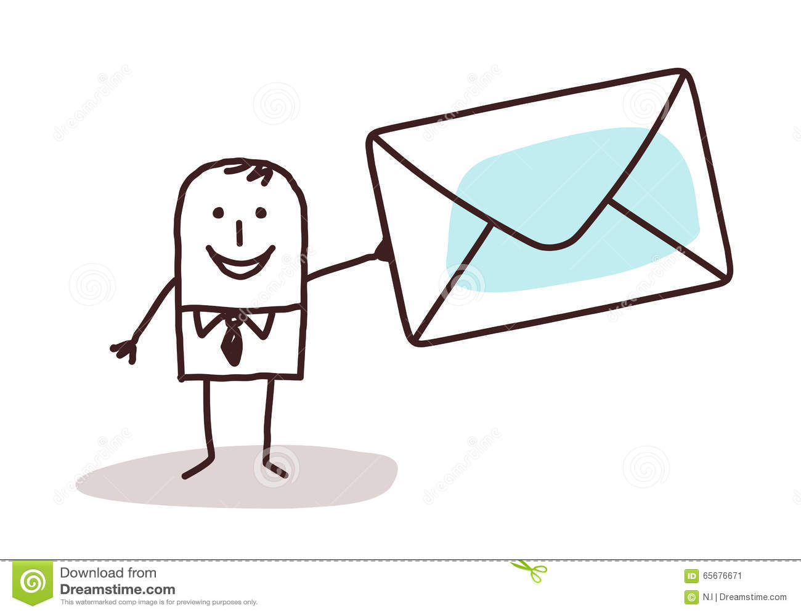 Beeldverhaalzakenman die een post houden enveloppe