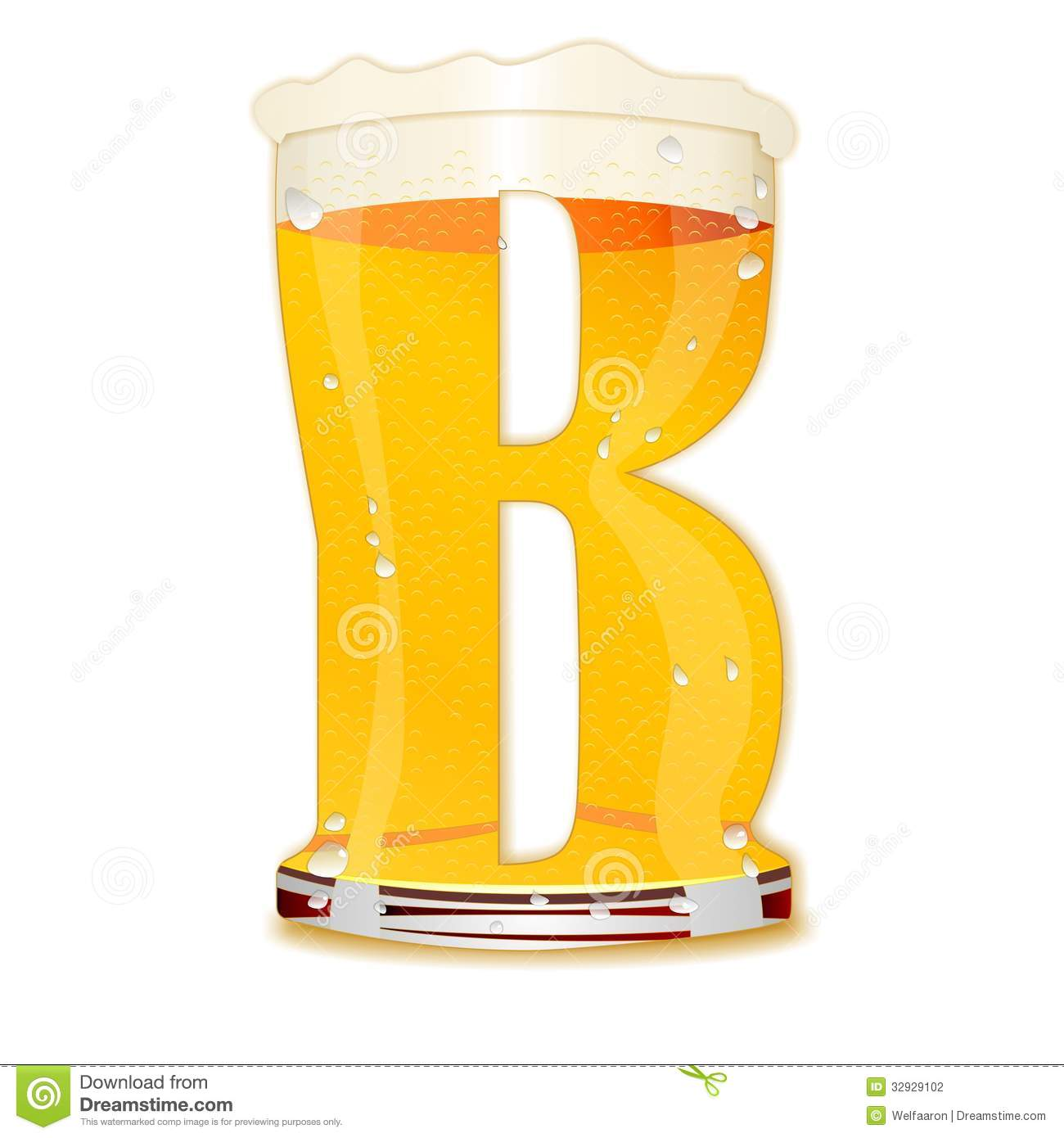Very detailed illustration of a Beer Alphabet capital or uppercase ...