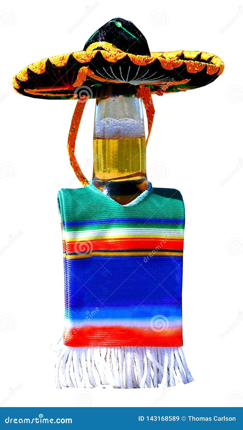 Beer bottle dressed up to celebrate Cinco de Mayo.