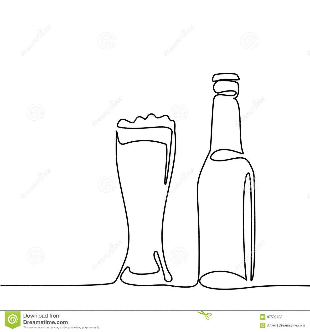One Line Art Beer : Beer bottle and glass with stock vector