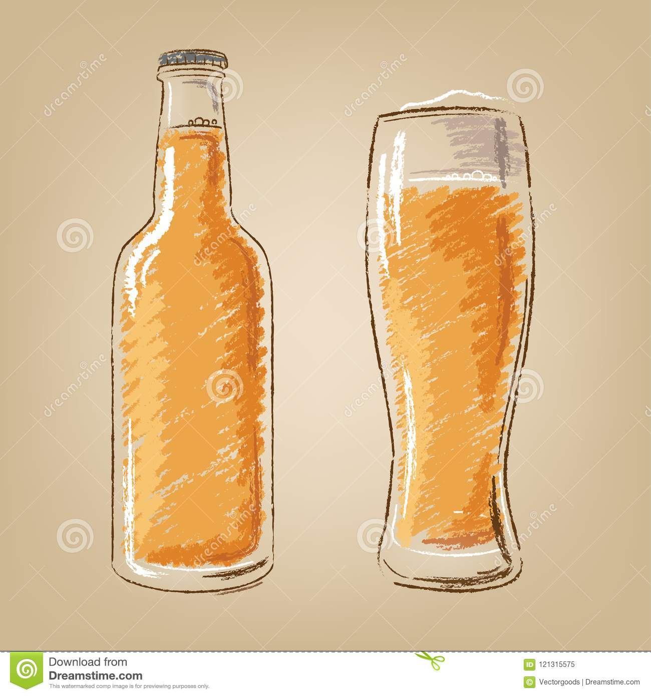 Beer bottle and glass isolated vector icons set