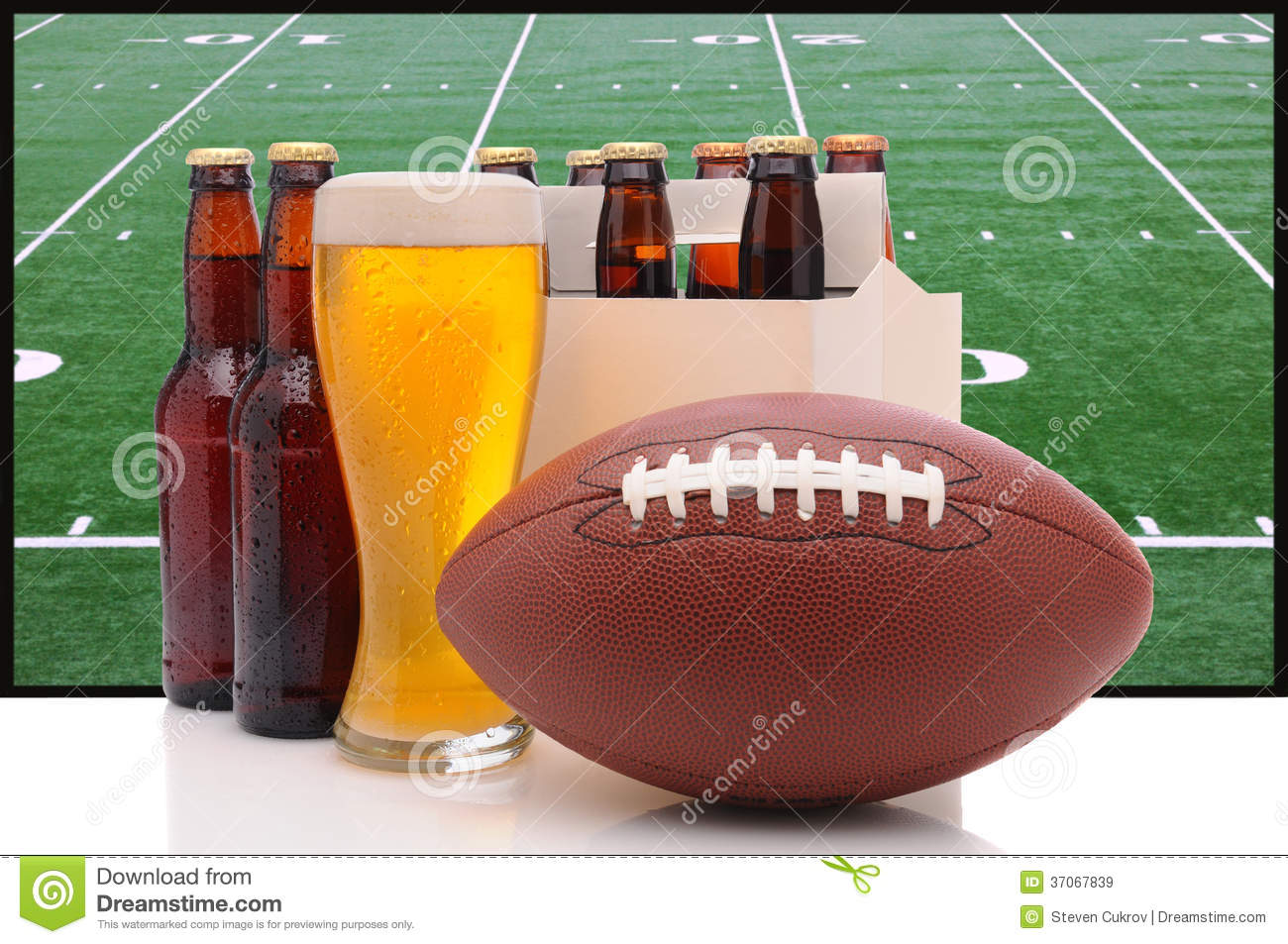 Beer Bottles And American Football Royalty Free Stock