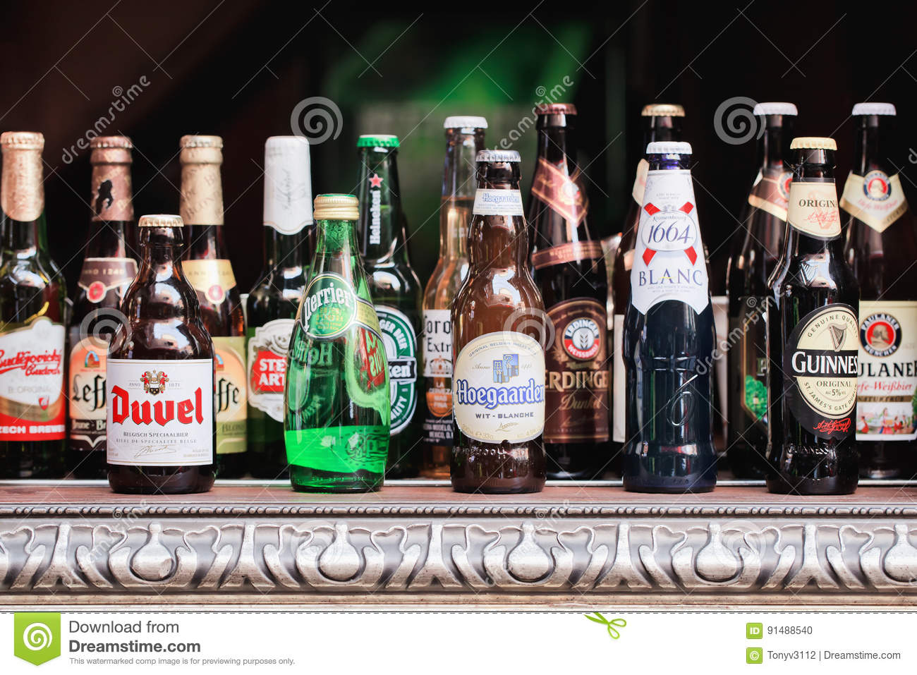 beer bottles displayed on a table shanghai china editorial image