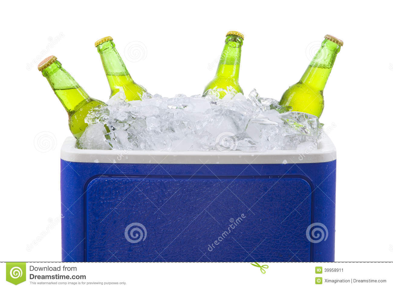 Beer Bottles In Ice Box Isolated Stock Photo Image 39958911