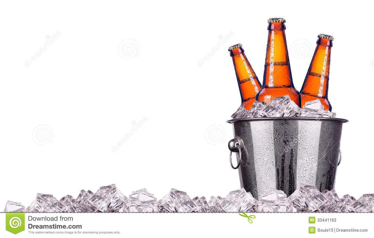 Beer Bottles In Ice Bucket Isolated Stock Photos  Image: 33441163