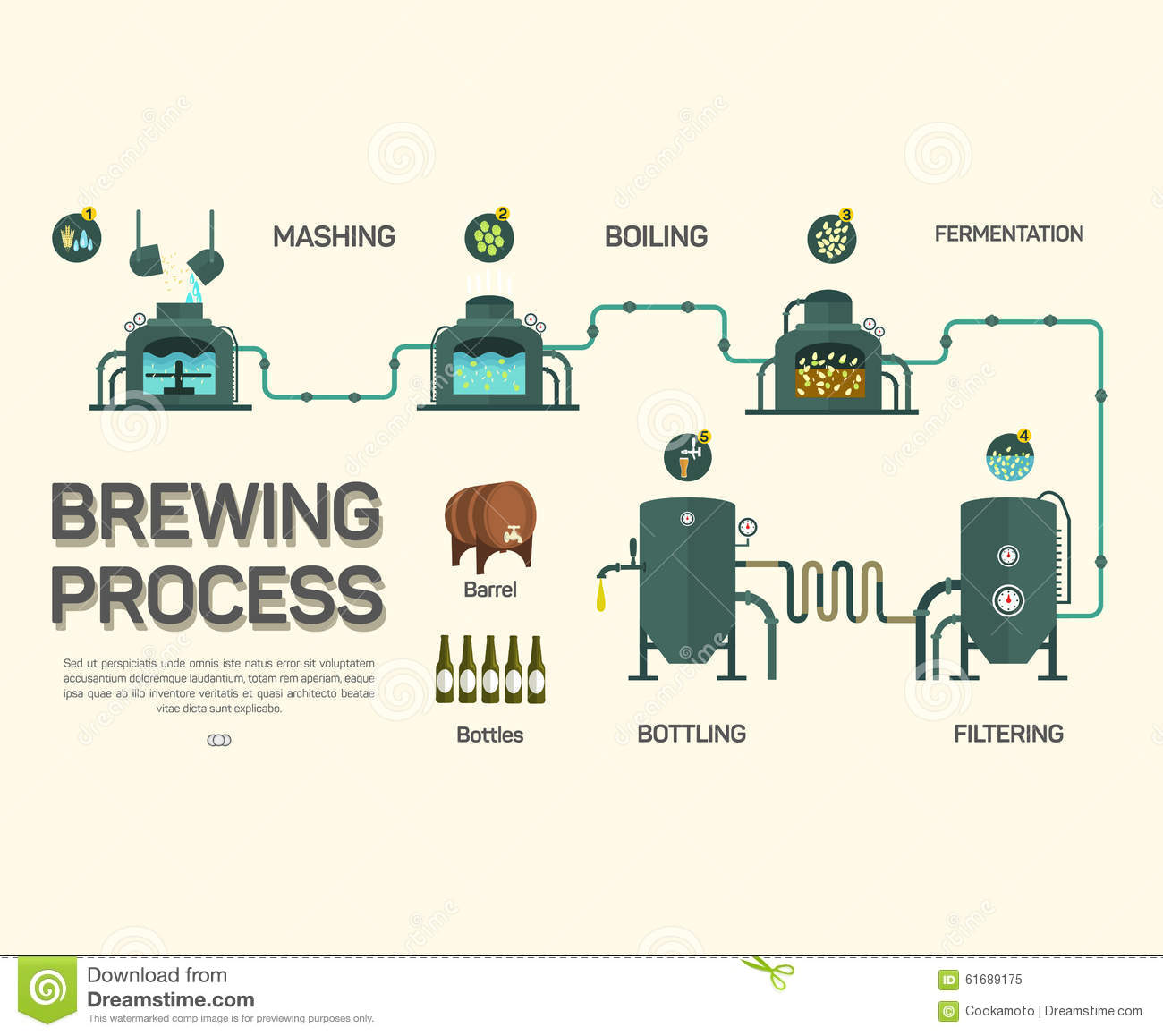 beer brewing process infographic flat style stock vector vector barley and hops Barley Wheat Vector
