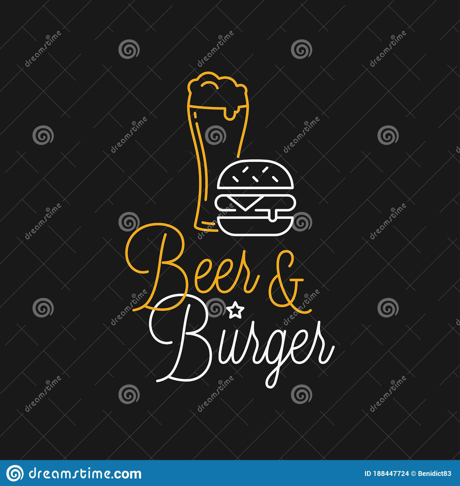 Beer And Burger Linear Logo Beer Glass Lettering Stock Vector Illustration Of Drink Black 188447724