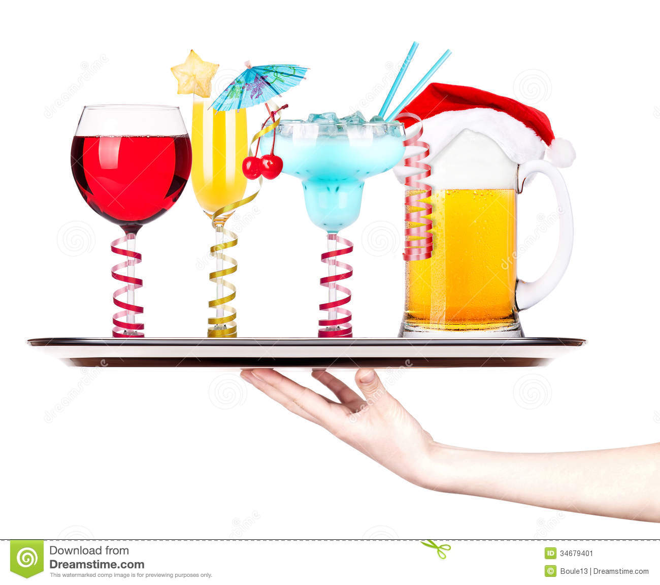 Beer With Cocktail On A Silver Waitress Tray Stock Image - Image ...