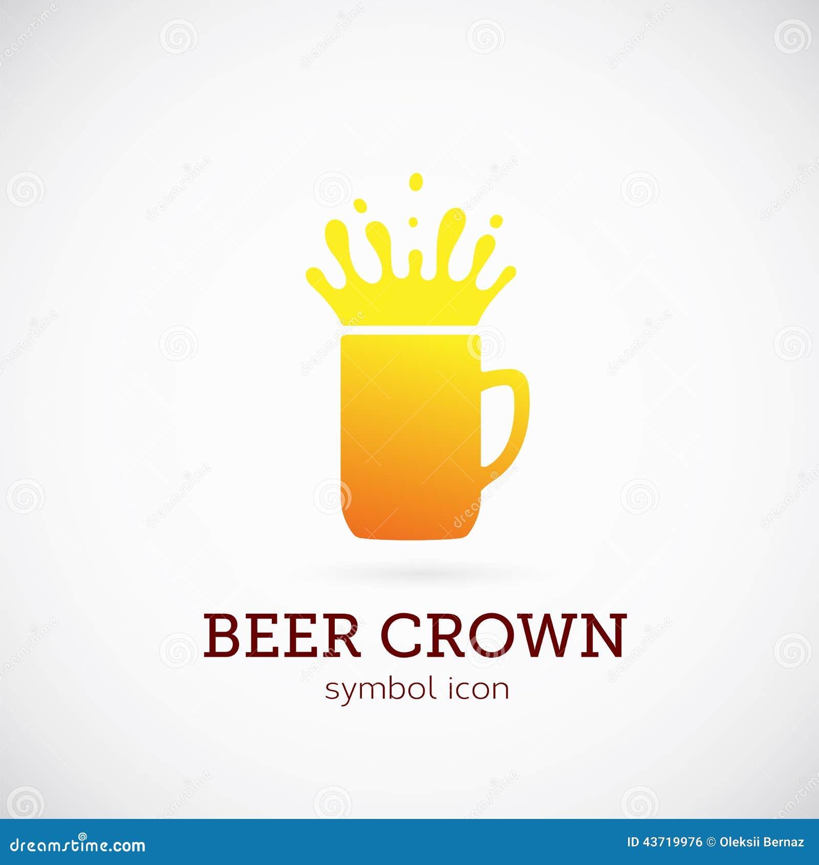 beer crown vector concept symbol icon or logo stock vector