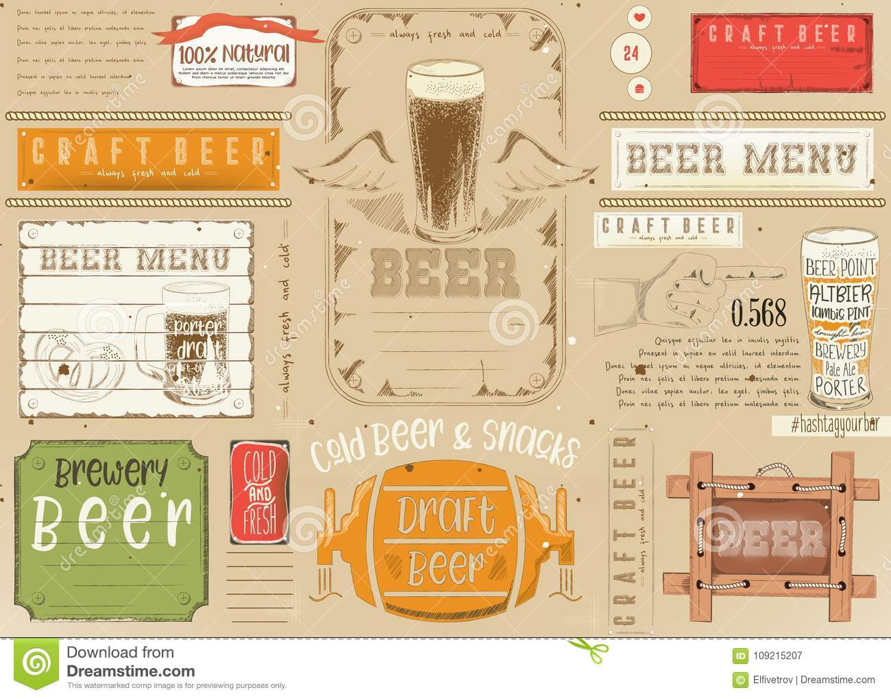 Beer Placemat Craft Stock Vector Illustration Of Place 109215207
