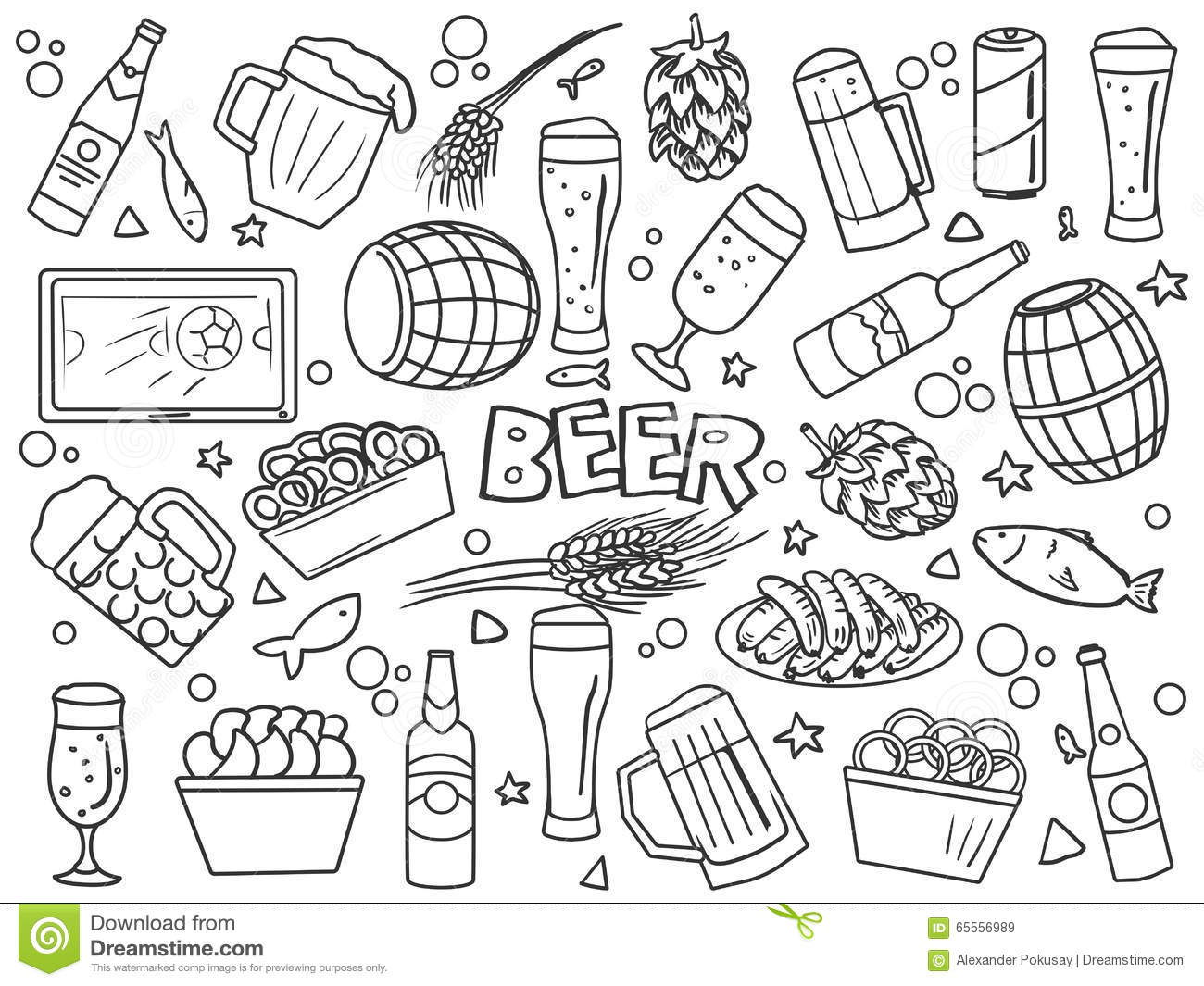 Line Art Styles : Beer elements line art style vector stock image