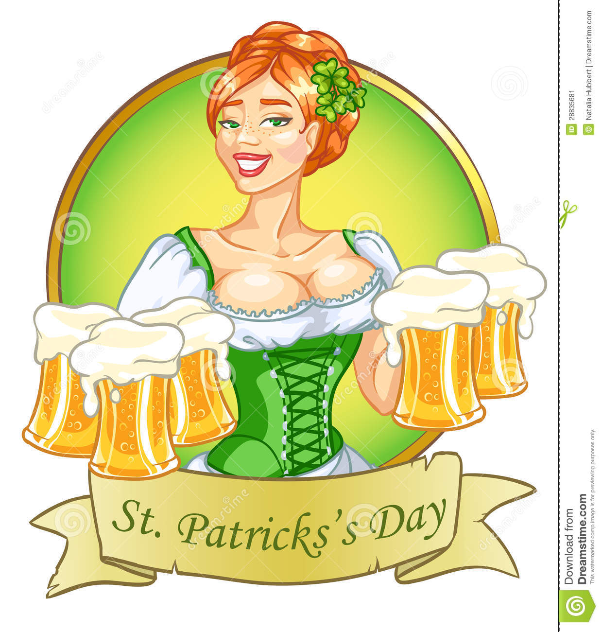 Oktoberfest or St.Patricks day girl with beer, woman with glasses of ...