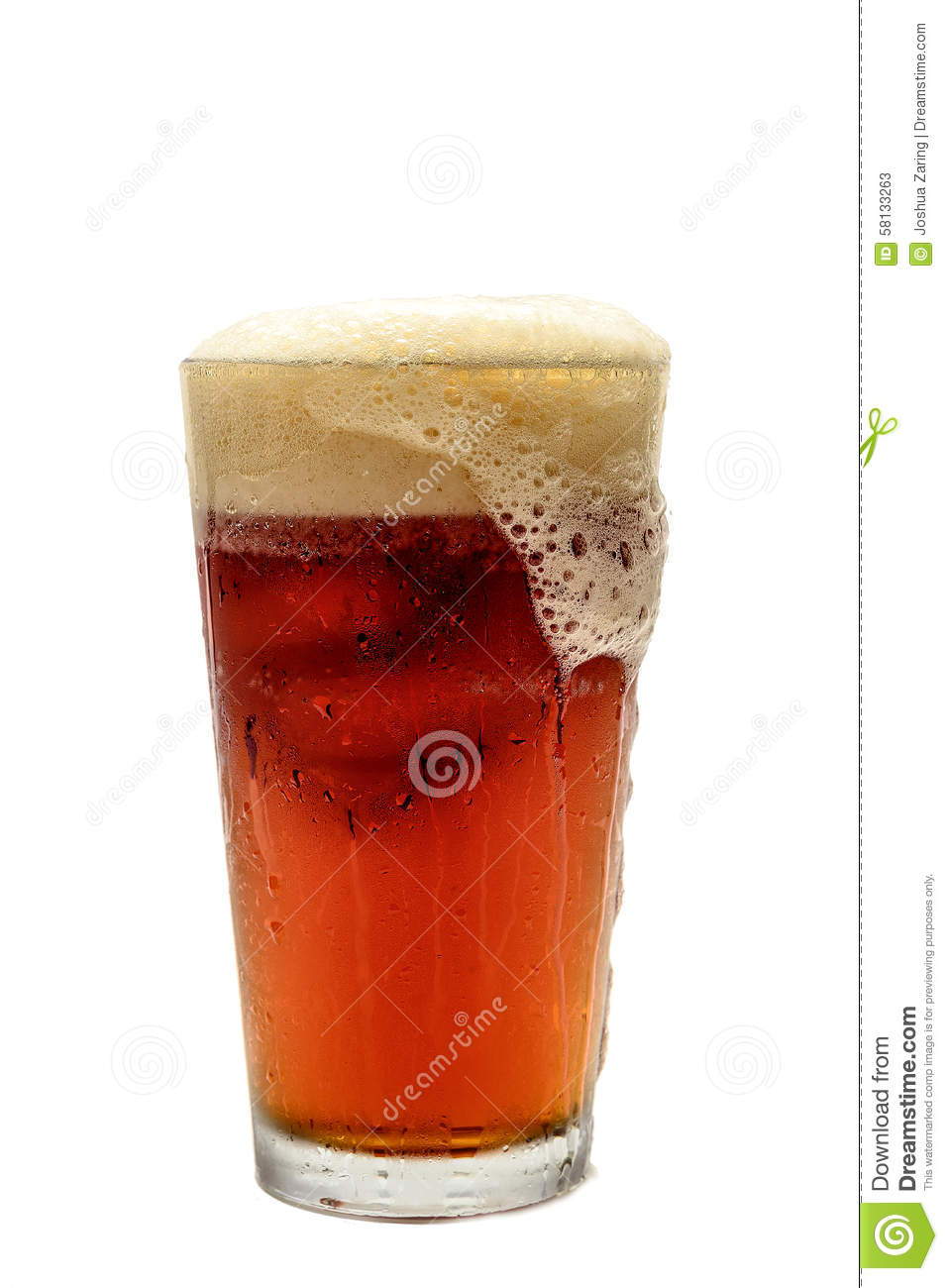 Beer Foaming Over Glass Stock Photo Image 58133263
