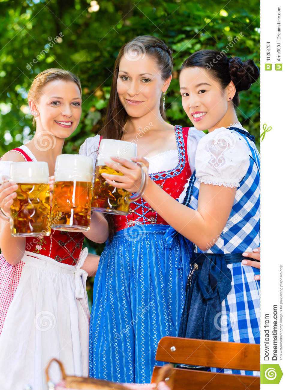 promo code d2904 b2e4a Beer Garden - Friends In Traditional Clothes In Bavaria ...