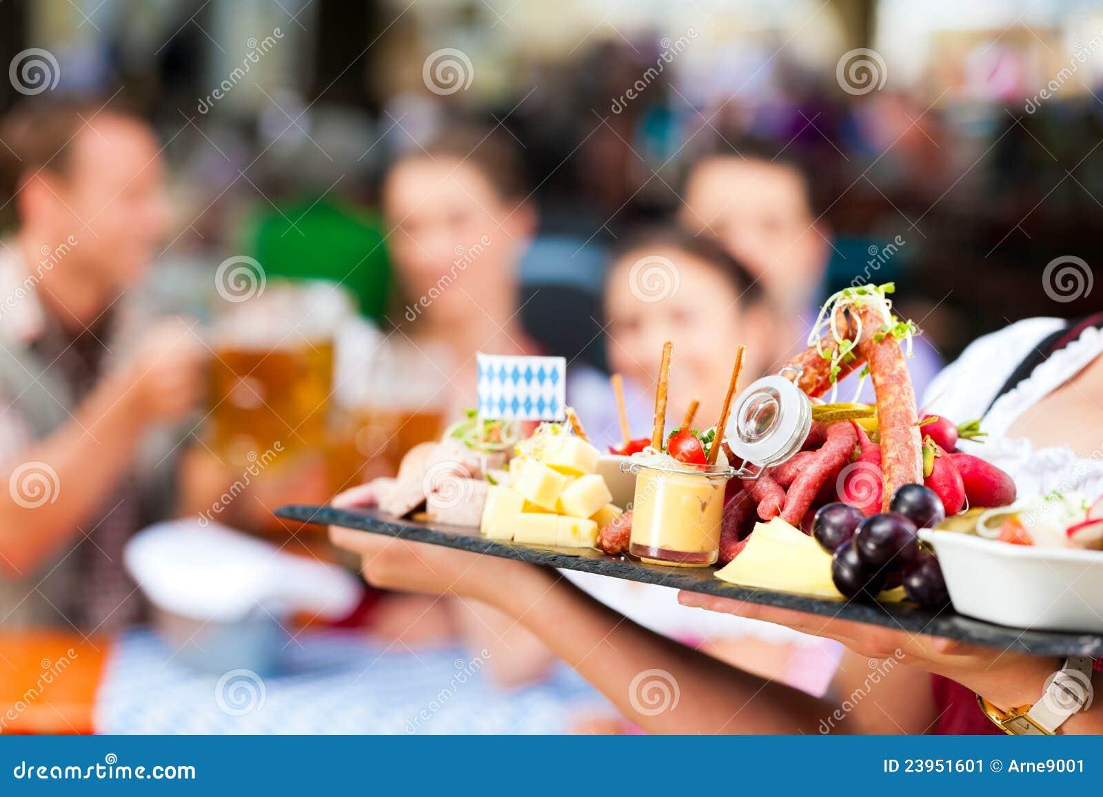 Beer Garden Restaurant Beer And Snacks Stock Image Image Of Garden Munich 23951601