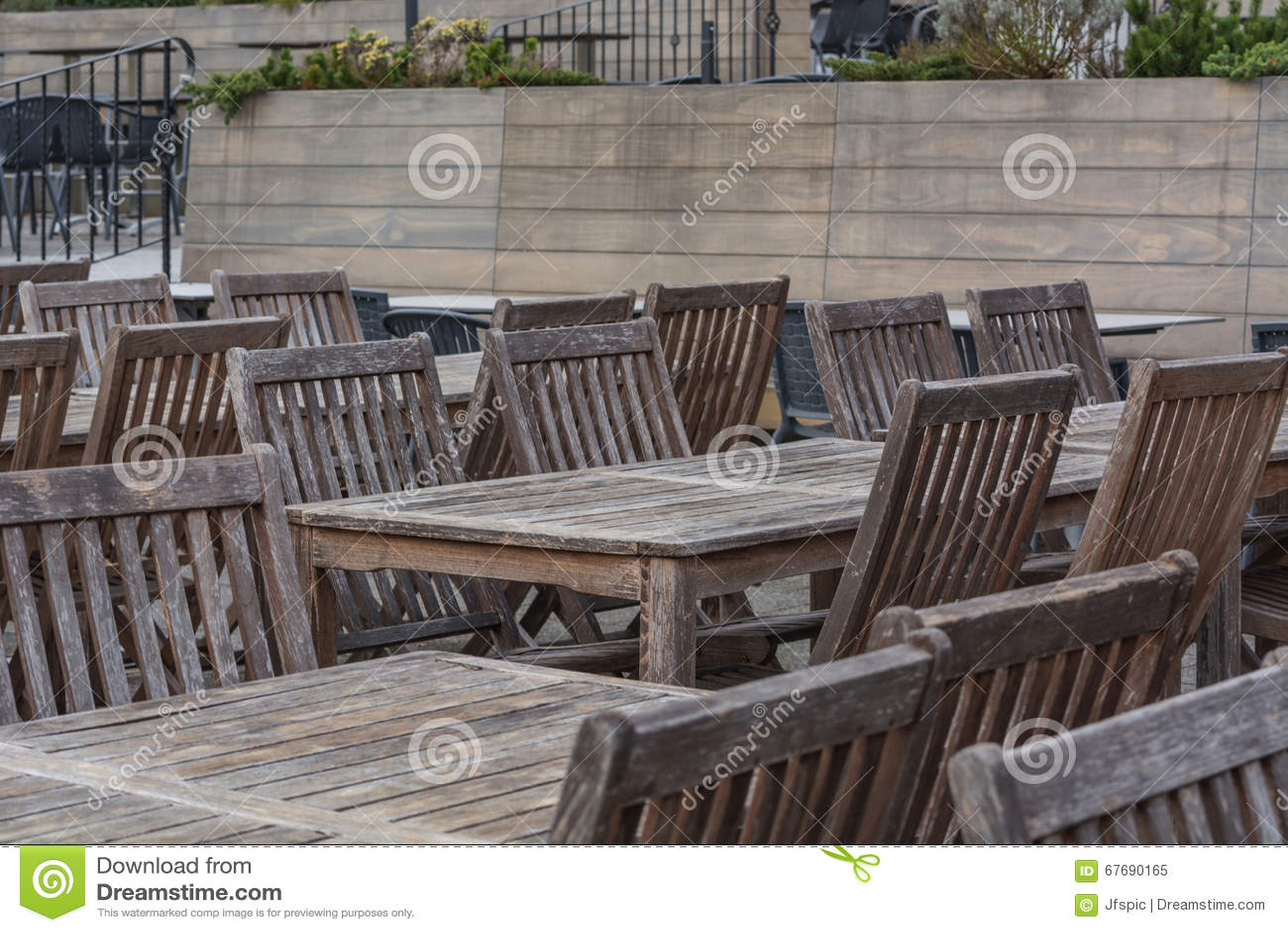 beer garden wooden tables stock image 67690165. Black Bedroom Furniture Sets. Home Design Ideas