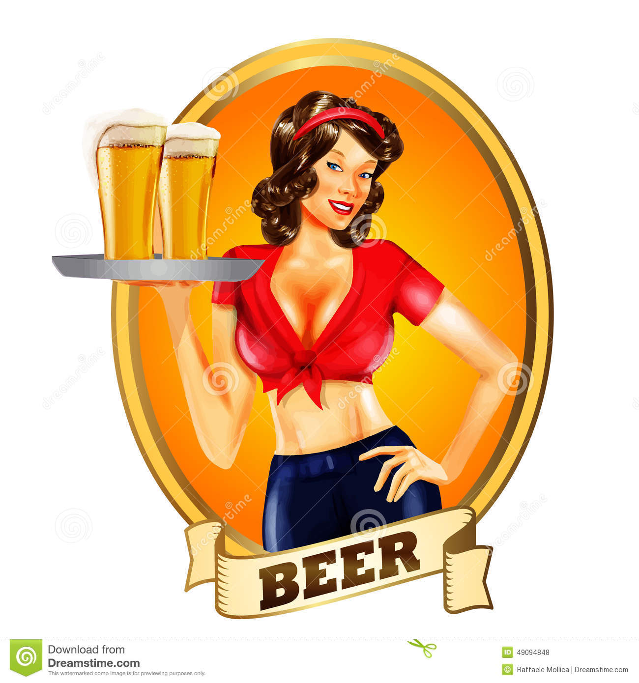 Girl Drinking Beer Clipart