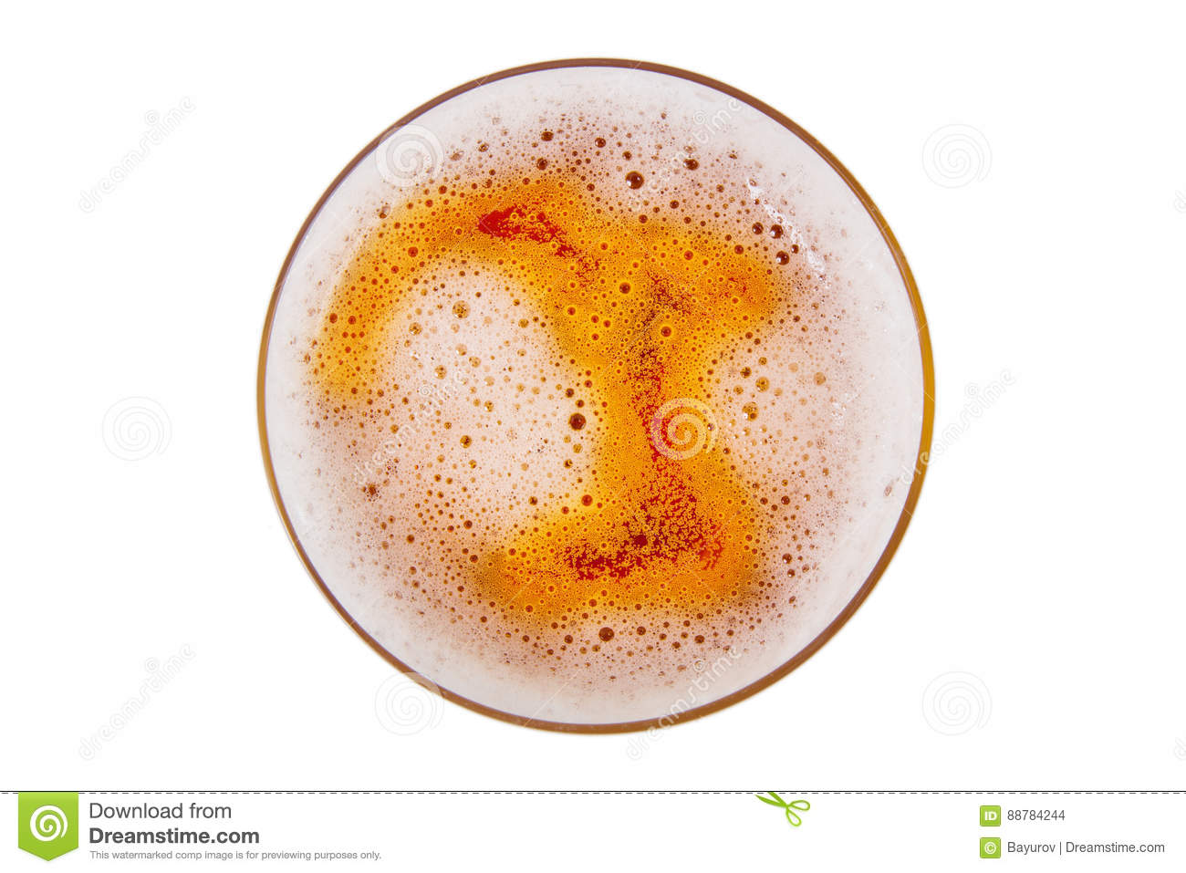 Beer in glass with foam.