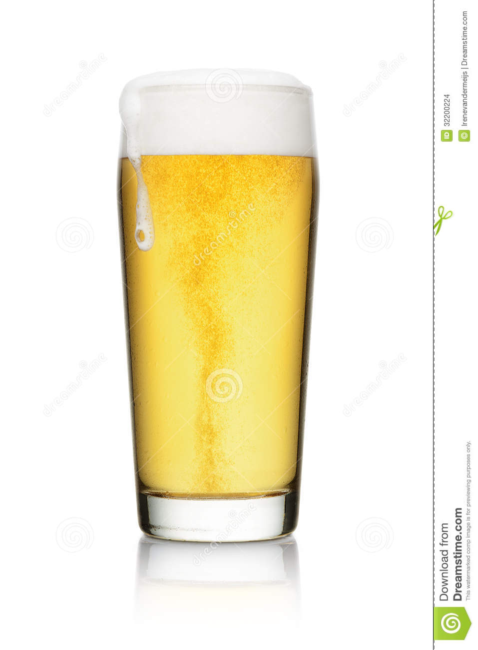 Beer into glass isolated