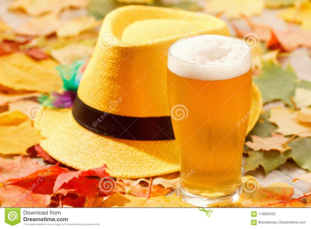 Beer glass pint octoberfest picnic on natural background with hat and autumn leaves