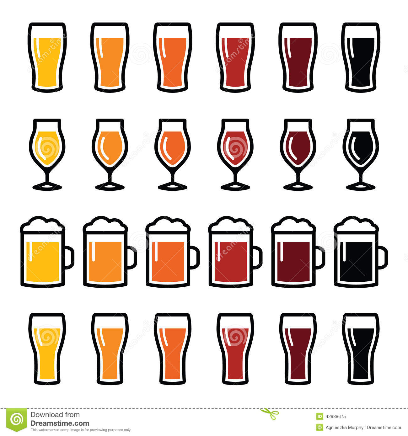 beer glasses different types icons lager pilsner ale