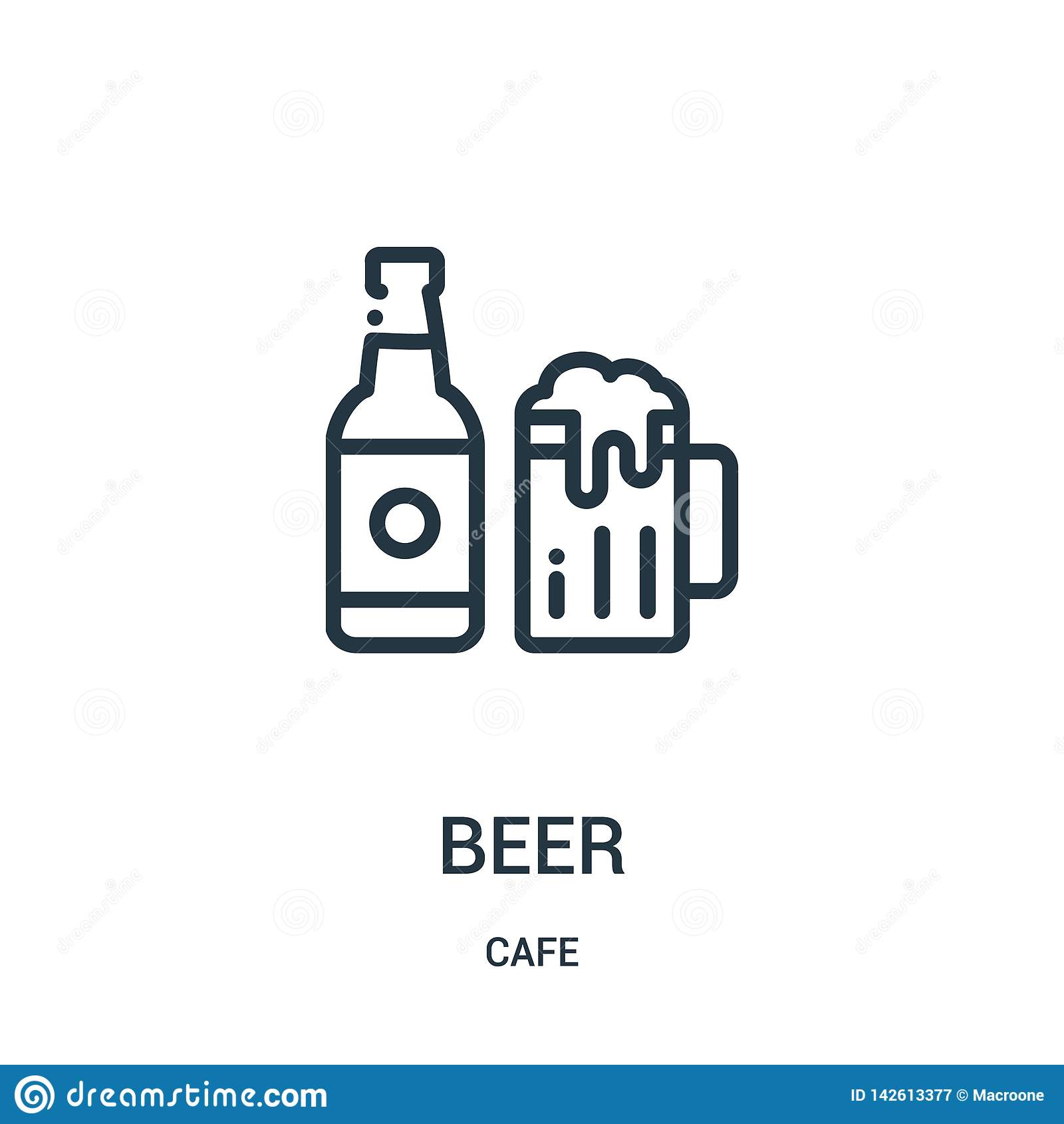 beer icon vector from cafe collection. Thin line beer outline icon vector illustration. Linear symbol