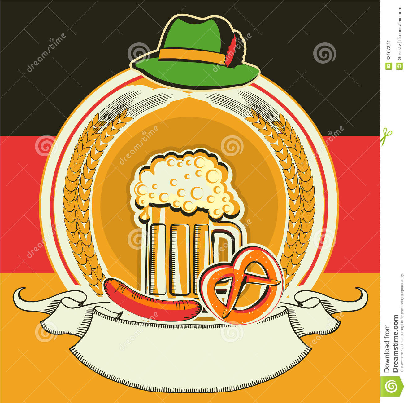 beer label with german flag and oktoberfest symbol stock