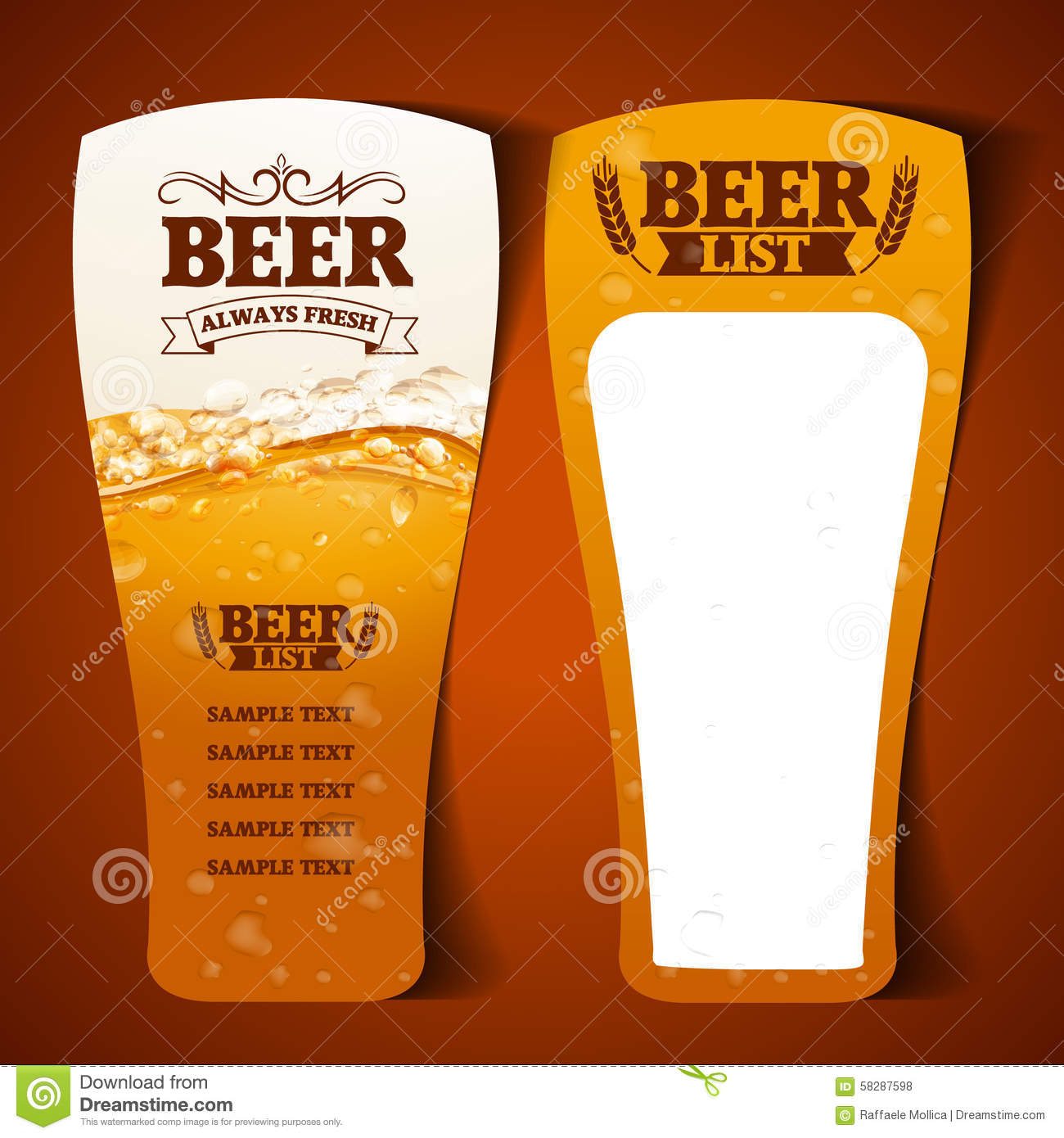 Beer Menu Glass Vector Image 58287598 – Beer Menu