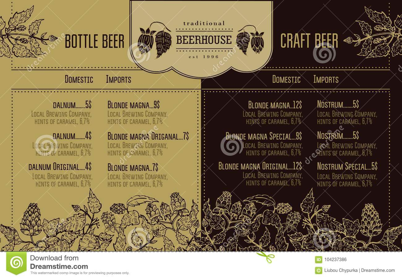 Beer Menu For Restaurant And Cafe Design Template With Hand Drawn Graphic Elements In Retro Style Stock Vector Illustration Of Vector Oktoberfest 104237386